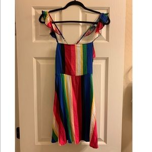 NWT rainbow striped ruffle Mini Dress